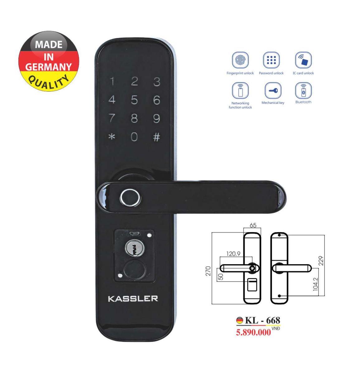 Khóa vân tay Kassler KL-668 - Mở khóa bằng app điện thoại